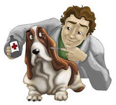 cartoon image of a dog and a veterinarian
